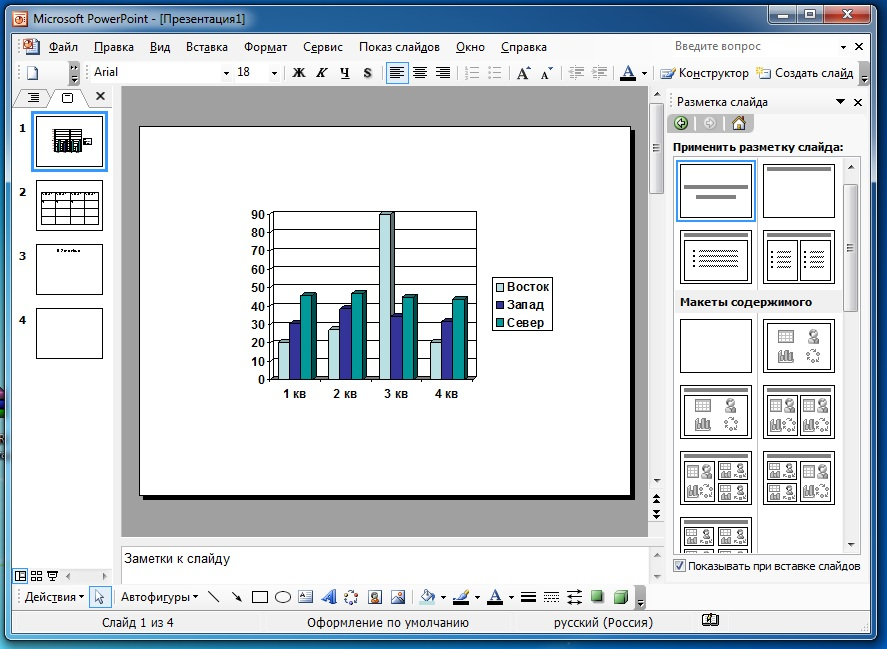 Графики PowerPoint 2003