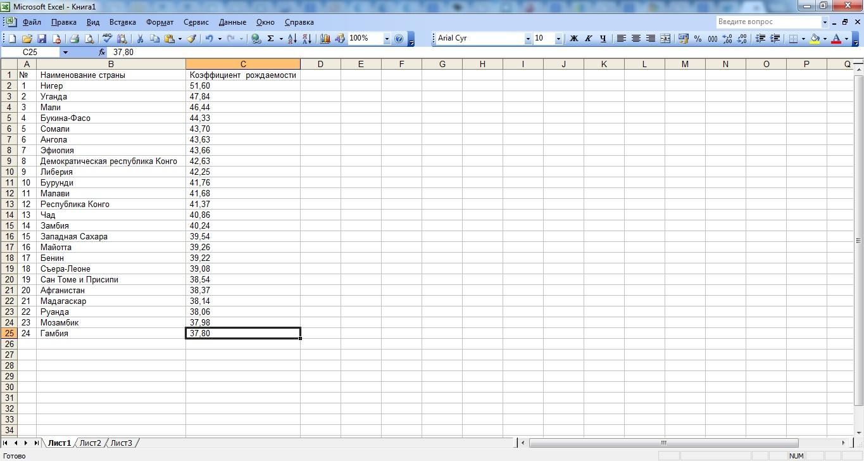Главная страница Excel 2003