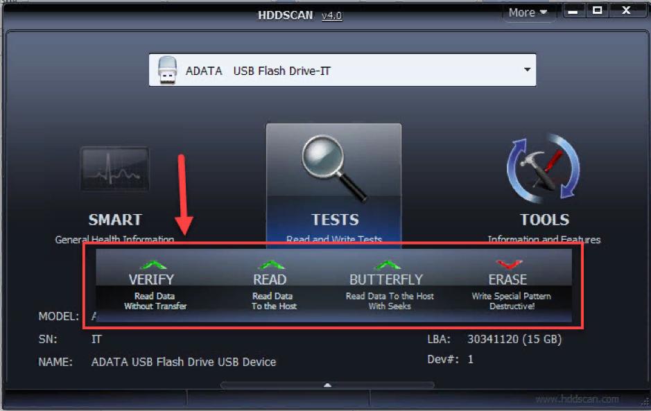 Режимы тестирования HDDScan