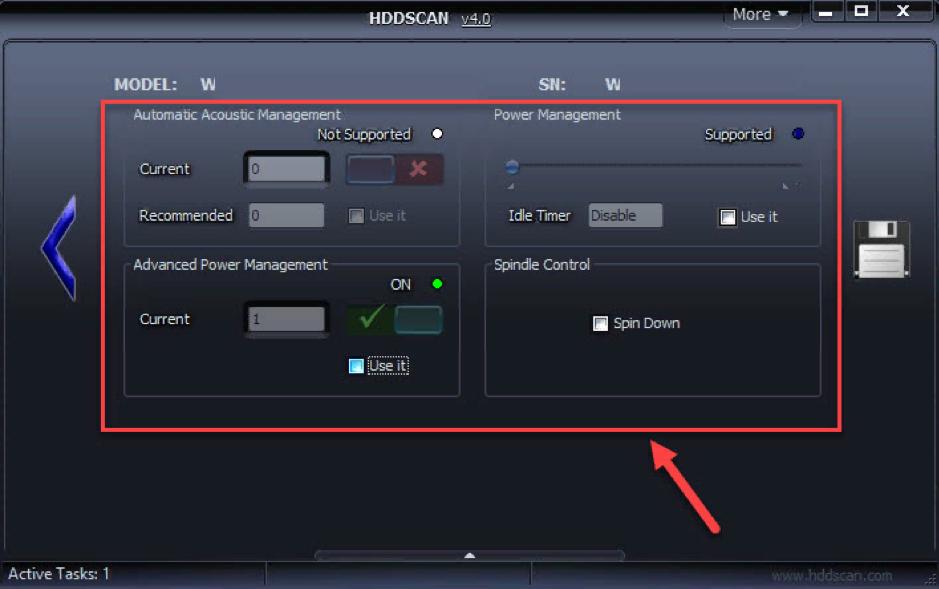 Изменение скорости вращения диска с помощью HDDScan