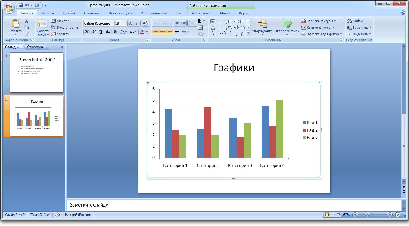 Графики PowerPoint 2010